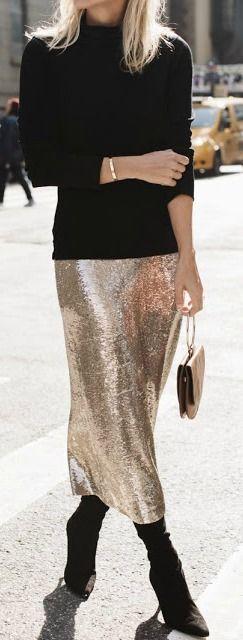 Gold sequin midi skirt.