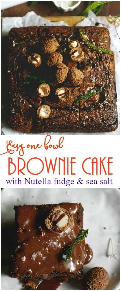 Organic brownie cake with Nutella fudge and seasalt
