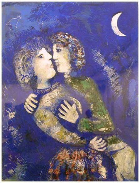 Les Amoureux à la demi-lune. Marc Chagall - 1926 (Stedelijk Museum, Amsterdam)