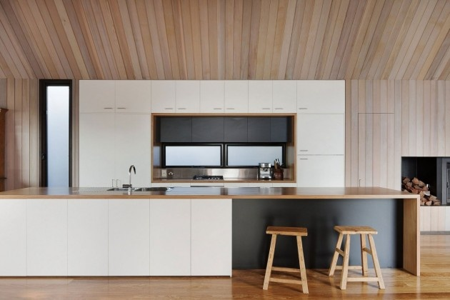 Timber ceilings and benchtop detail