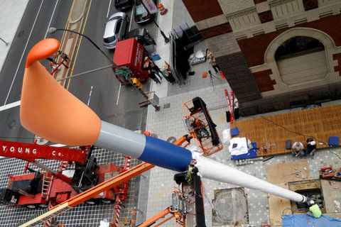 Check out the New York Times' photo slide show of Claes Oldenburg's Paintbrush installation in Philadelphia back in August 2011. (Photo: Jessica Kourkounis for The New York Times)