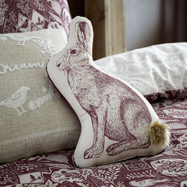 Hare Plum Cushion | Dunelm
