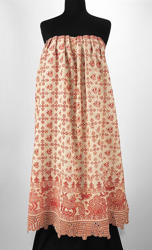 Apron Date: 1830–70 Culture: Russian Medium: linen, cotton