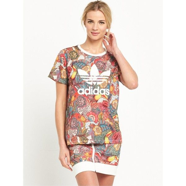 Adidas Originals Fugiprabali Tee ($37) ❤ liked on Polyvore featuring tops, t-shirts, white t shirt, adidas originals tee, adidas originals, adidas originals t shirt and white top