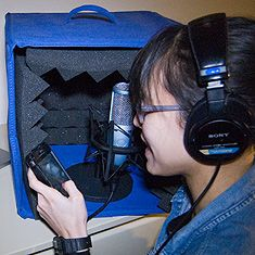 Voice recording in a home studio, courtesy Transom.org