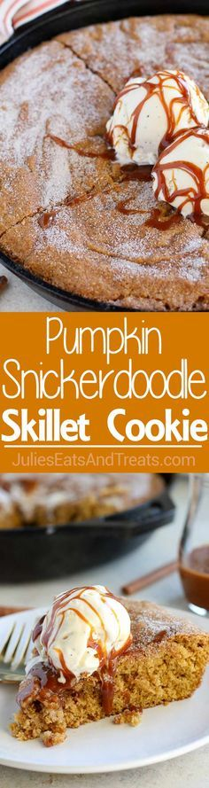 Pumpkin Snickerdoodl Pumpkin Snickerdoodle Skillet Cookie  A big soft Pumpkin Snickerdoodle cookie baked in a skillet. Filled with pumpkin brown sugar and pumpkin pie spice youll love the warm and comforting flavors in this easy fall dessert! Recipe : http://ift.tt/1hGiZgA And @ItsNutella  http://ift.tt/2v8iUYW