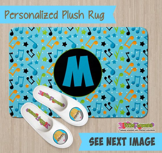Personalized Musical Notes Rug - Personalized Plush Rug - Personalized Nursery Rug - Children Rug - Nursery Musical Notes Rug - Music Room