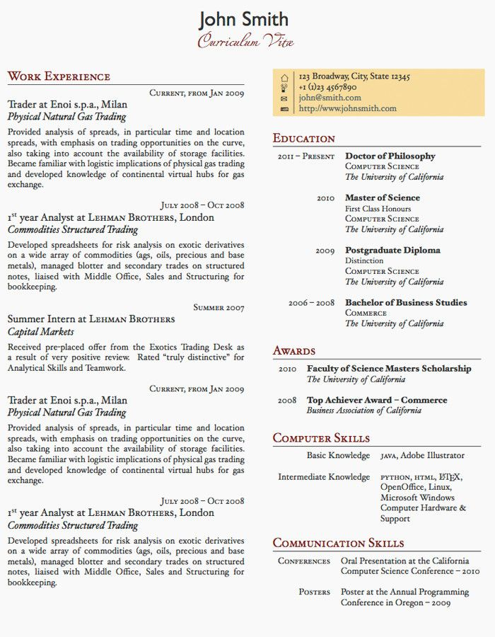 1 Page Cv Template Uk One page resume template, One page