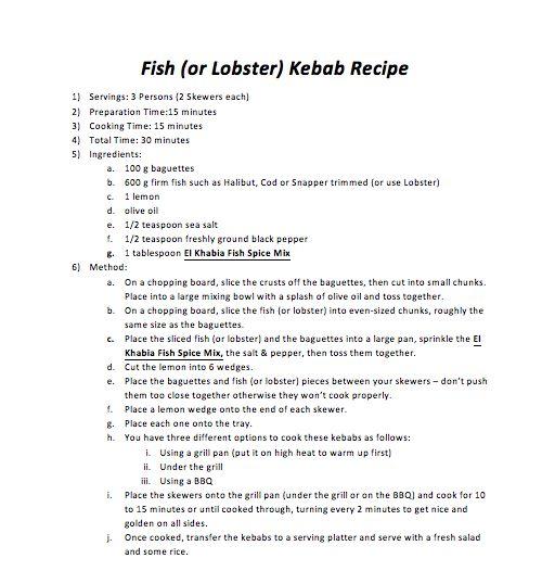 Fish (or Lobster) Kebab Recipe
