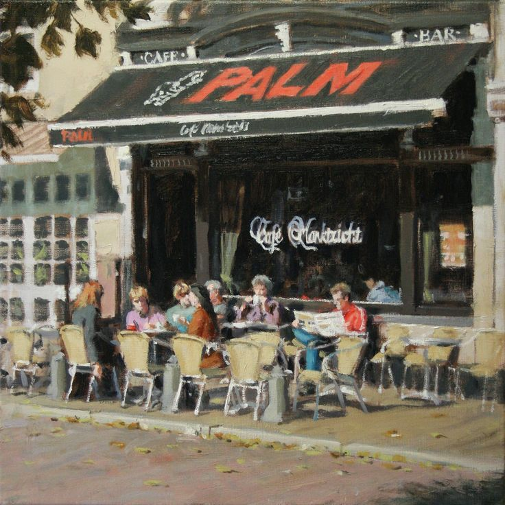 Café Marktzicht (Utrecht) | oil on linen painting by Richard van Mensvoort