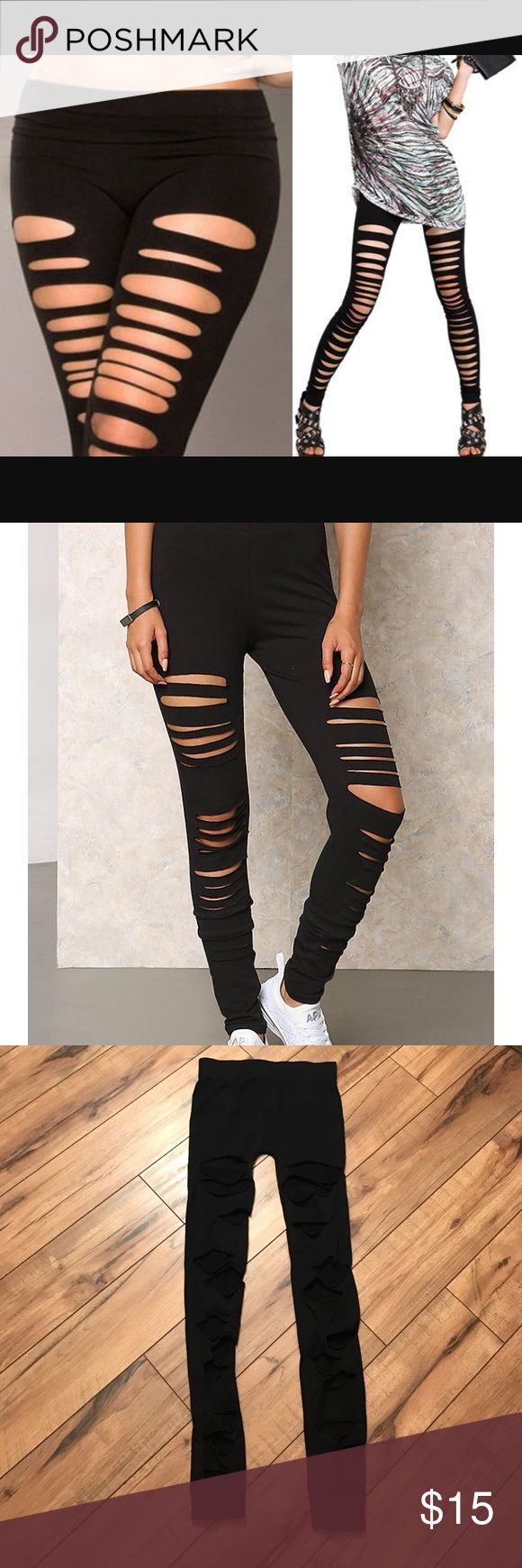 "❌ON HOLD❌Black ripped leggings NWOT. Ordered and never wore. ""See You Monday"" brand. OSFM. Chic ripped leggings with holes placed randomly on each leg. Very soft and comfortable and a great addition to your wardrobe. From non-smoking home. No defects. See You Monday Pants Leggings"