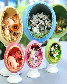 No yolk here -- instead, this real eggshell is filled with a playful assortment of springtime embellishments, visible through a hand-cut ovular window