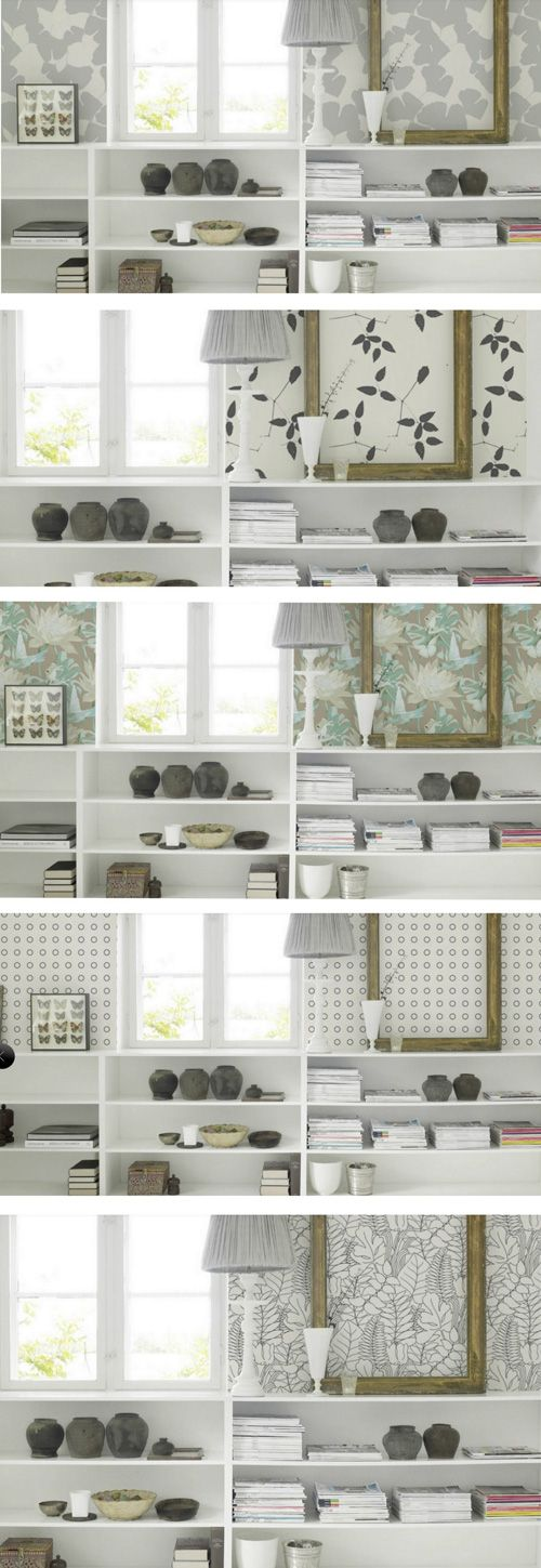 love these first 2 grey flowered wallpaper from Fiona (http://fiona-walldesign.com). Would look great in my grey and white bathroom. Via decor8