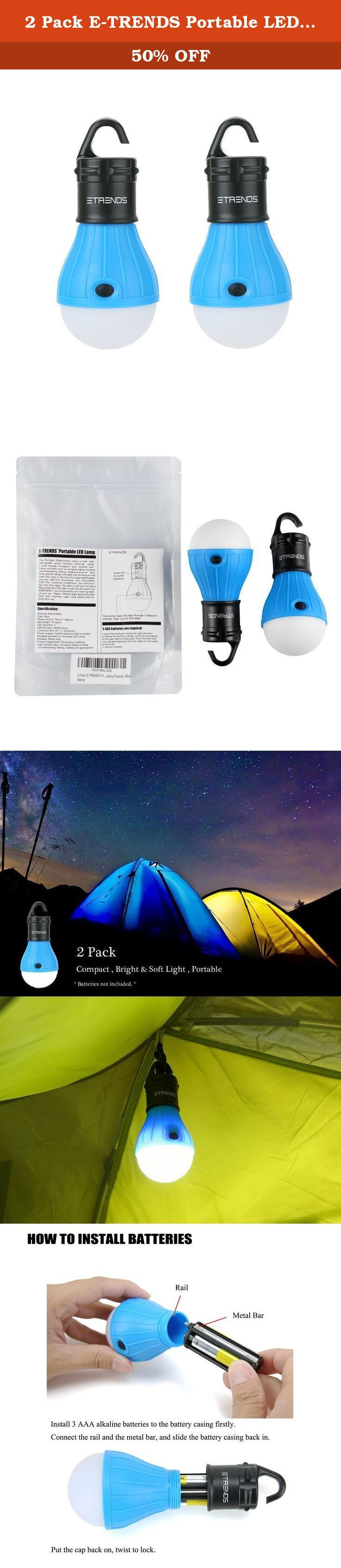 2 Pack E-TRENDS Portable LED Lantern Light Bulb for Camping Hiking Night Fishing Emergency Light, Battery Powered for Outdoor & Indoor, Not for Reading Purpose, Blue. Built with superior, high-quality materials that are safe and reliable to help provide maximum durability and water resistance whenever or wherever you go. The innovative and convenient hanging hook design is equipped with a sturdy housing to support all your outdoor and indoor activities such as camping, hiking, hunting...