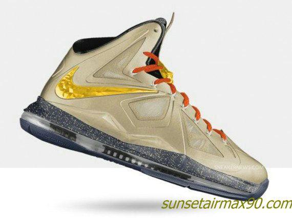 Nike Lebron X Metallic Gold Beige Black · James ShoesNike ...