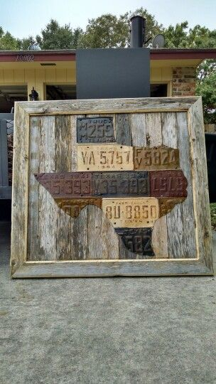 Rustic Texas license plate sign framed