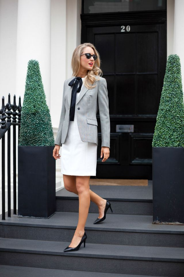 classy office wear>> Dress: c/o Brooks Brothers  |  Jacket: Brooks Brothers  |  Neck Tie: vintage   |  Shoes: Ralph Lauren |  Sunglasses: Stella McCartney