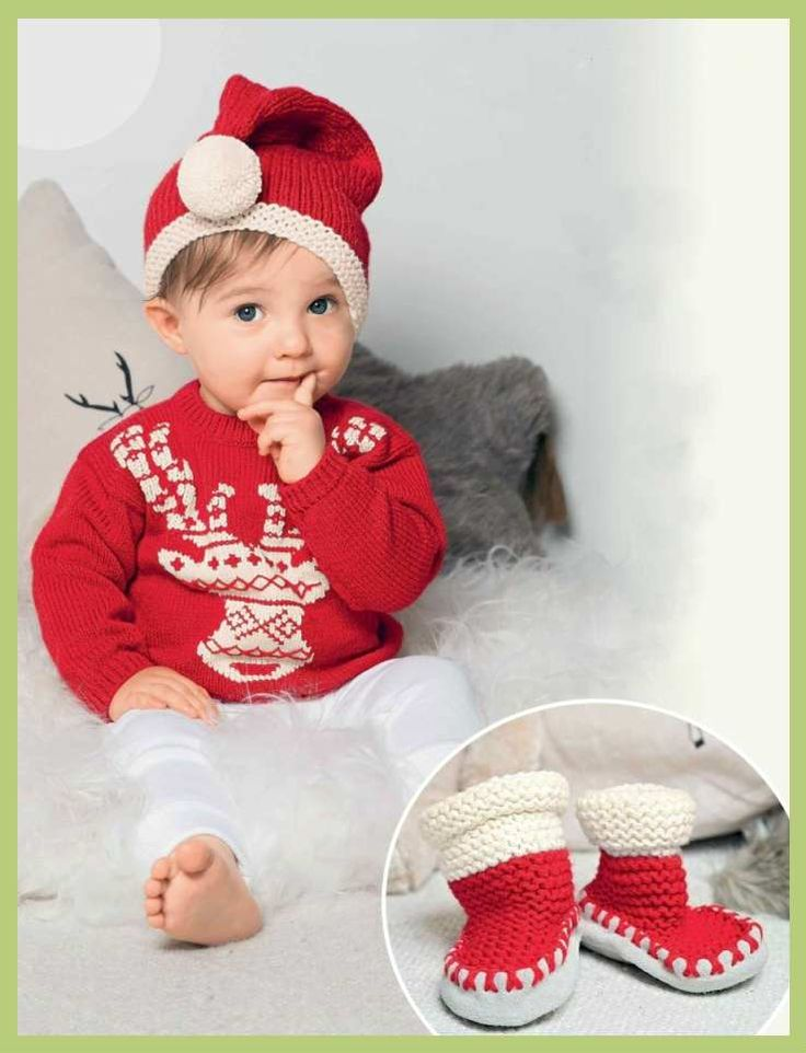 Пуловер с оленями. Башмачки. Шапка / Вязание для детей