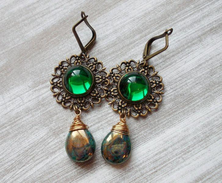"""Ohrhänger - Ohrhänger bronze """"Teichnymphe"""" grün türkis - ein Designerstück von kirschrot-schmuckdesign bei DaWanda"""