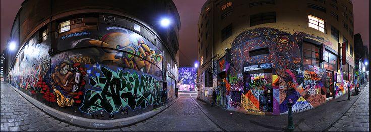 Hosier Lane Street Art- Melbourne Graffiti Panorama