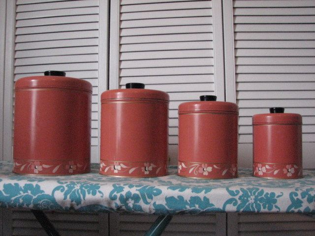 RANSBURG GENUINE 1930'S Handpainted canister set made in Indianapolis U.S.A by MajorVintageShop on Etsy