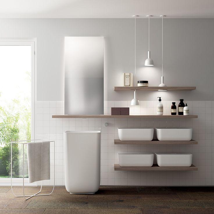 Shelves in Hono Elm Laminate KI 52 cm Cristalplant® monobloc washbasin