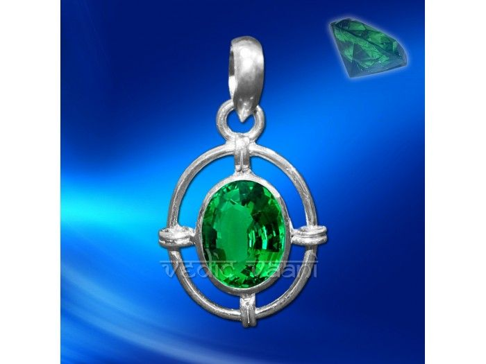 Emerald Locket in Sterling Silver buy online from VedicVaani.com . Emerald (Panna) made in sterling silver locket.  Emerald is a stone of prosperity and riches; it is not just a materialistic stone. It also encourages spiritual growth, clear vision, intelligence and communication skills, intuition, clairvoyance, tranquility, friendship and unity. More kinds of physical heeling have been ascribed to the emerald than to almost any other stone.