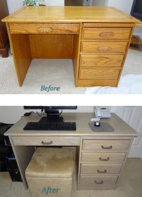 Before And After   Refinished Painted And Glazed Wood Oak Desk, Now More  Neutral And