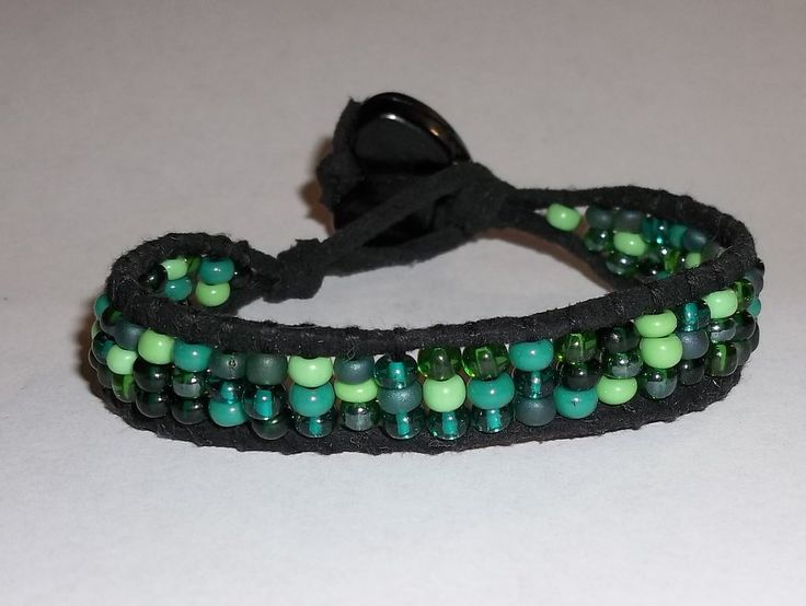 Beaded Green Glass Seed Bead Mix Black Suede Leather Artisan Crafted Bracelet w/ Black Heart Button Clasp
