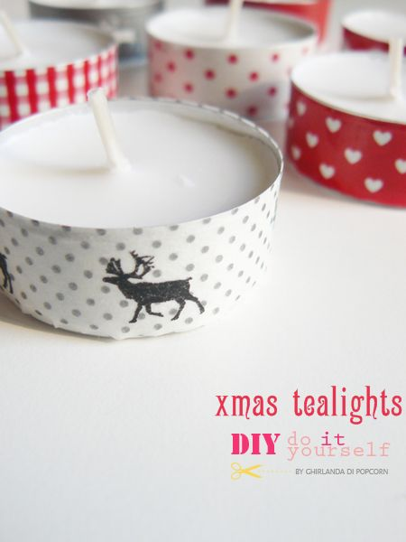 Make yourself some lovely washi tape Christmas tea lights ... such a pretty but simple Christmas decoration ...