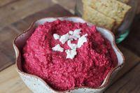 Beet and Goat Cheese Hummus - A Beautiful Mess