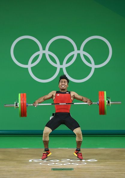 #RIO2016 Deni of Indonesia lifts during the Men's 77kg Group B weightlifting contest on Day 5 of the Rio 2016 Olympic Games at Riocentro Pavilion 2 on August...