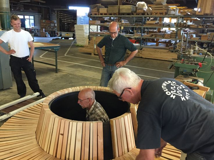 Making a special round outdoor bench...