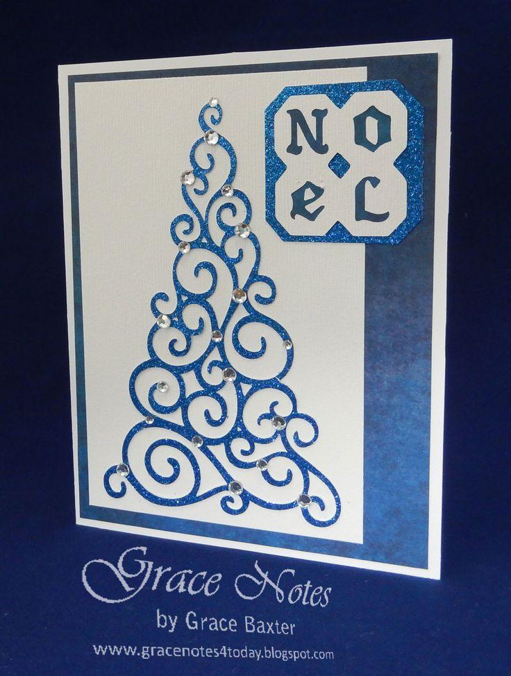 Blue Sparkle Tree Card, designed by Grace Baxter. Details on gracenotesAllAboutChristmas.blogspot.com #ChristmasTree #Cricutcards #Christmascards