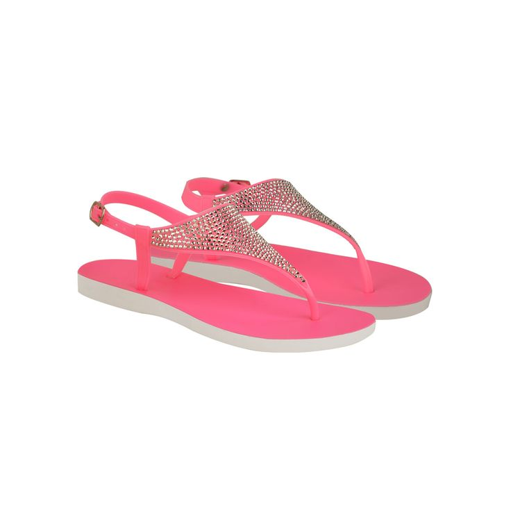 Neon Pink Diamante Flip Flop Toe Thong Strappy Sandals - Shanni