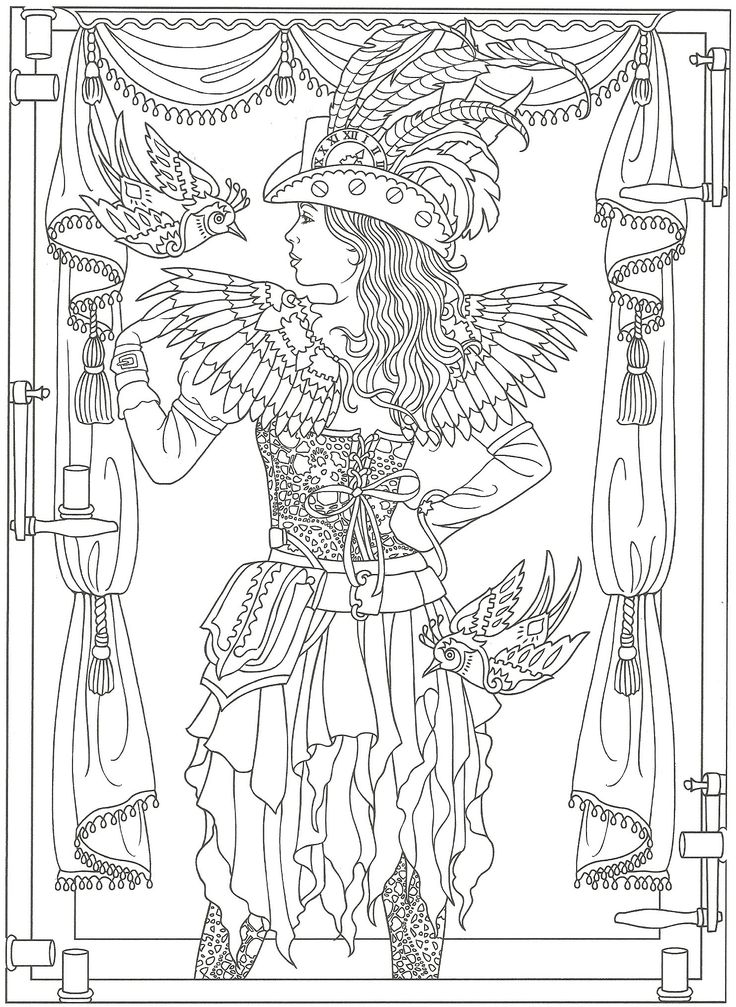 From Creative Haven Steampunk Fashions Coloring Book Dover Publications