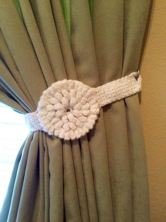 Tieback de la cortina  1 par blanca flor de ganchillo