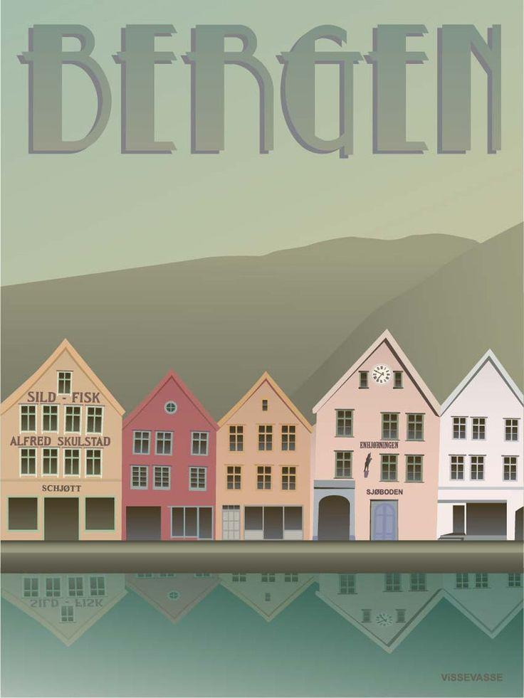 BERGEN Bryggen - plakat
