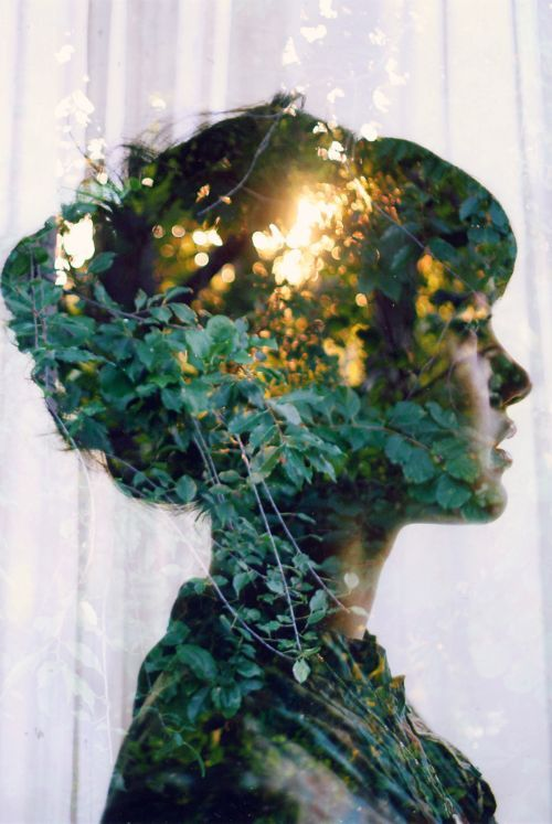 Silhouette style double exposure photography.