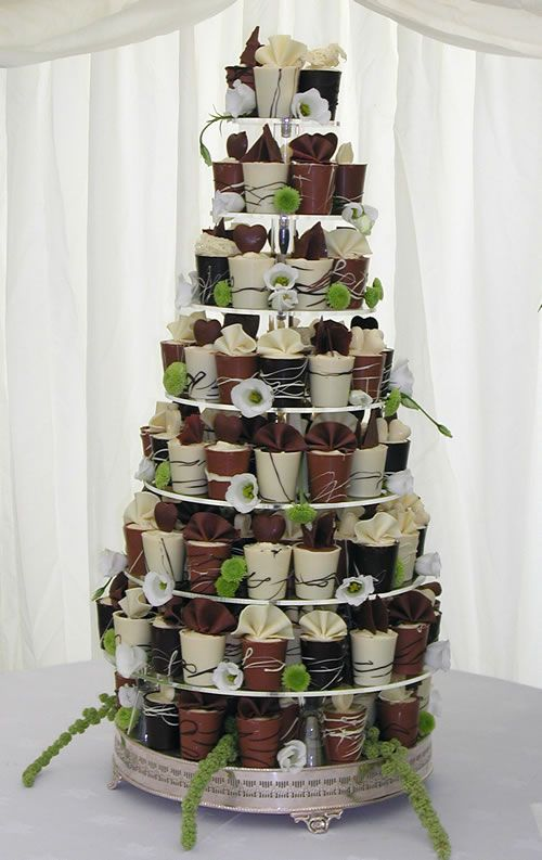 Belgian Chocolate Cup Tower ( Consider making cups and filling with Chocolate/Choc Espresso/Raspberry mousse.)