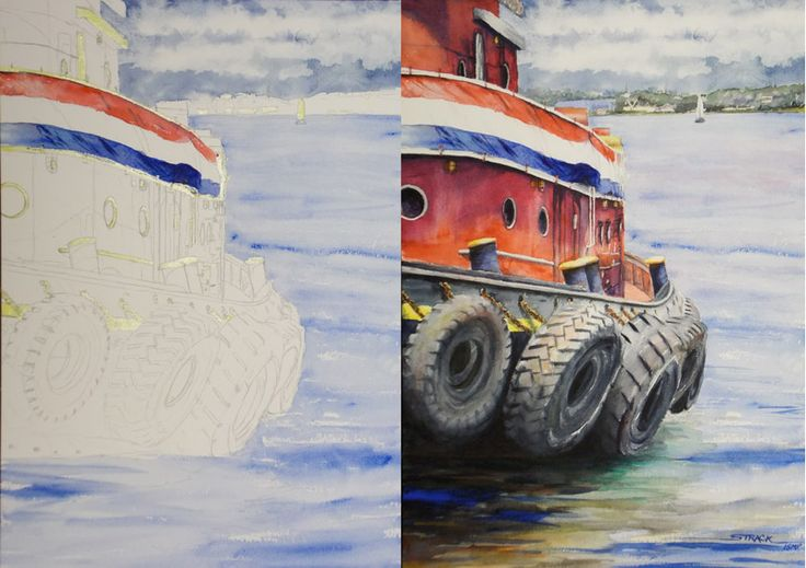 #Watercolor #Painting Demo - How to Paint the Tugboat with Annie Strack, a step-by-step tutorial on the Plaza Art Store blog!