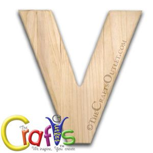 """12"""""""" Wooden Letter 0.5-inch thick between 8"""""""" to 11.5"""""""" wide Letter V unfinished Pinewood letter"""