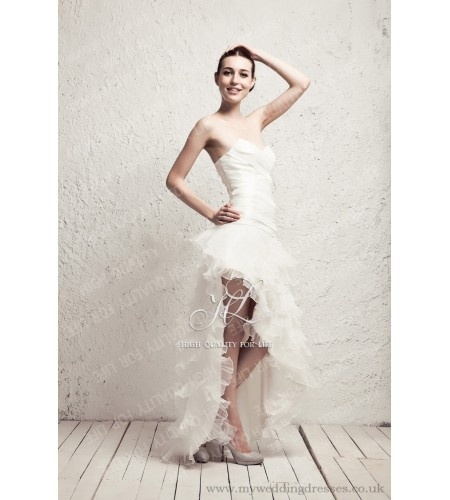 A-line ivory Strapless Knee-length Taffeta Wedding Dress ruo_0008  http://www.myweddingdresses.co.uk/4-new-arrival-wedding-dresses