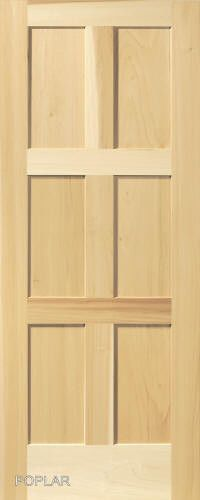 6 Panel Poplar Equal Flat Mission Stain Grade Solid Core Interior Wood Doors