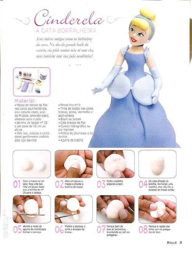 ARTESANATOS PASSO A PASSO: Princesas em biscuit (Cinderela)