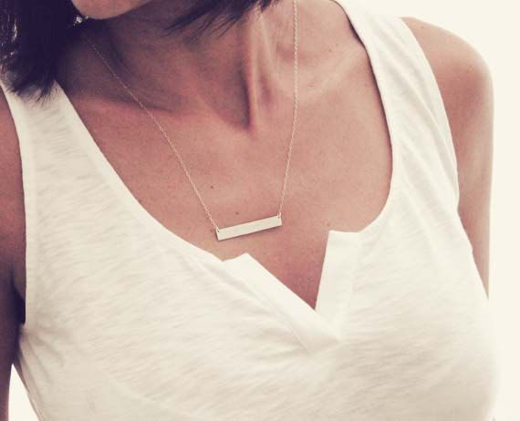 Personalized Horizontal Bar Necklace / Gold Nameplate Necklace / Celebrity Inspired Necklace / Gold