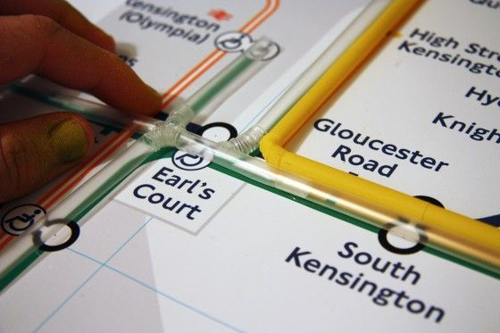 Tube Map Zone One of the London Underground map made from drinking straws. Photos: Jean-luc Brouard