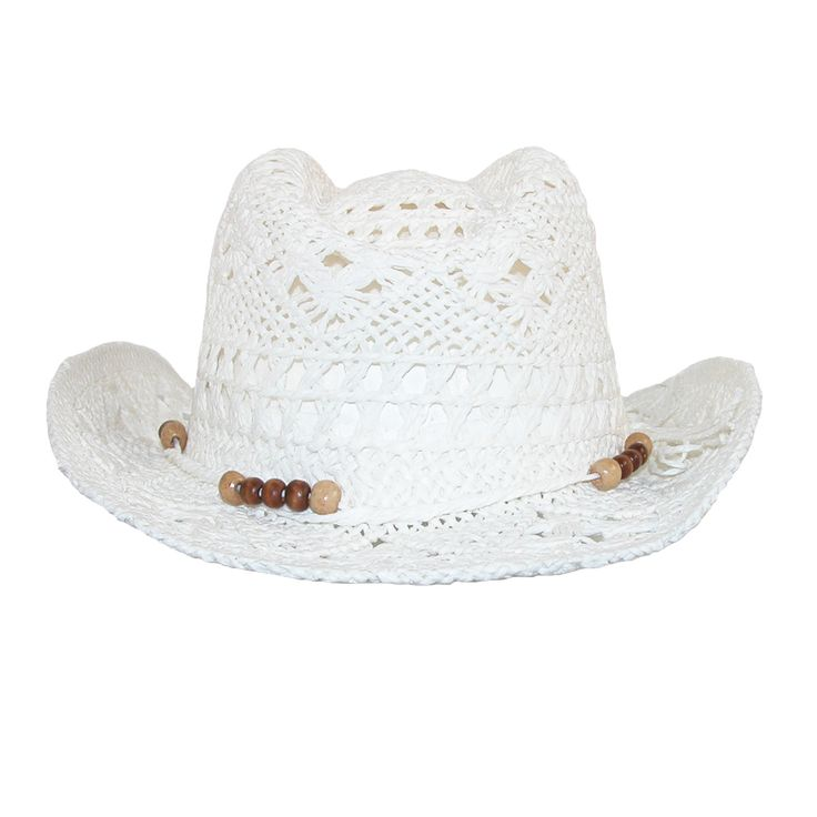CTM Girls' Straw Beaded Trim Cowgirl Western Hat