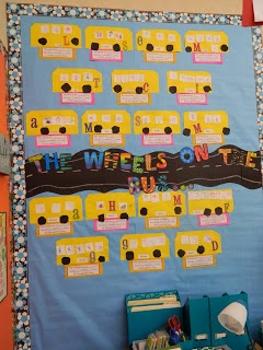 The Wheels on the Bus bulletin board. The letters are CTP's Poppin' Patterns.