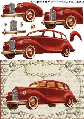 Vintage Car Decoupage. Matching Steampunk insert & backing paper also available!